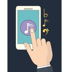 Smartphone icon music online and technology vector