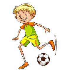 A simple coloured sketch of a soccer player vector image