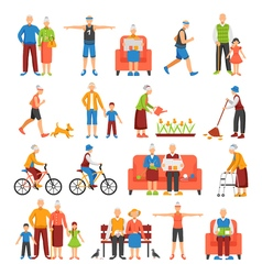 Active Old People Set vector image