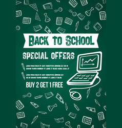 Back to school sale offer chalkboard poster vector