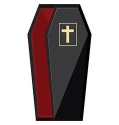Black coffin with cross vector image
