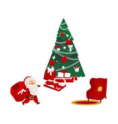 christmas elements - santa fir tree and armchair vector image