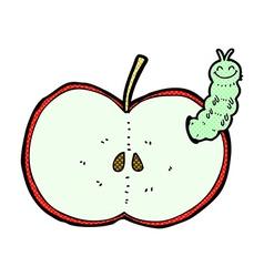 Comic cartoon bug eating apple vector