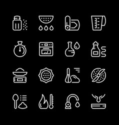 cooking related set line icons vector image