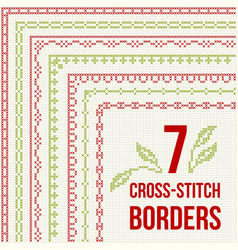 Cross-stitch embroidery - seven thin borders vector