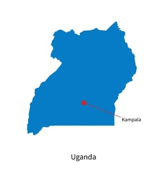 Detailed map of Uganda and capital city Kampala vector image