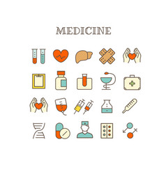 different medical thin line color icons set vector image vector image