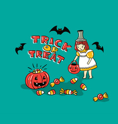 halloween card with stylish lettering - trick or vector image vector image