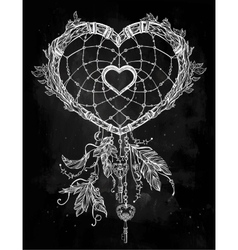 Heart shaped dream catcher with feathers vector image