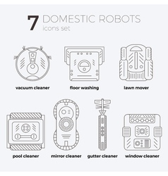 Icons set of domestic robots in line art vector