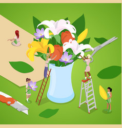 Isometric people making bouquet of flowers vector