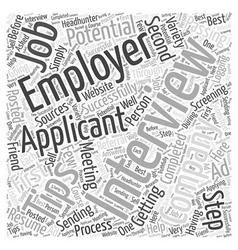 job interview tips dlvy nicheblowercom Word Cloud vector image