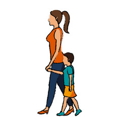 mom and son walking people character vector image vector image