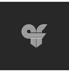 Monogram combination initials qf letters logo for vector
