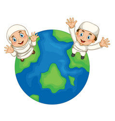 muslim boy and girl on earth vector image vector image