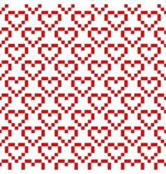 Pixel art heart seamless pattern vector image