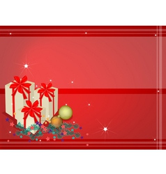 Red Background of Gift Boxes on Fir Twigs vector image