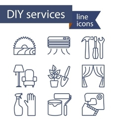 Set of line icons for diy services vector