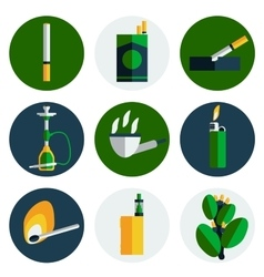 Smoking and tobacco flat icons vector image