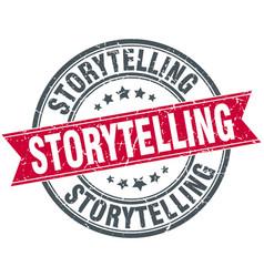 Storytelling round grunge ribbon stamp vector
