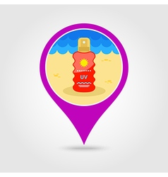 Sun Cream in Spray pin map icon Summer Vacation vector image vector image