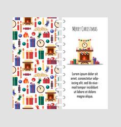 Template christmas card with festive vector