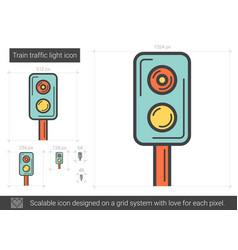 Train traffic light line icon vector