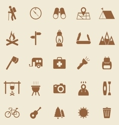 Trekking color icons on brown background vector