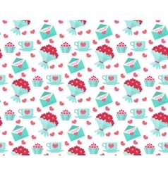 Cute seamless pattern Valentines day with coffee vector image