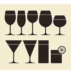 Silhouette of drinking glasses vector image