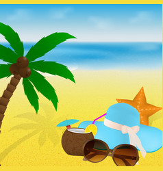 Summertime vacation beach with sunglasses vector