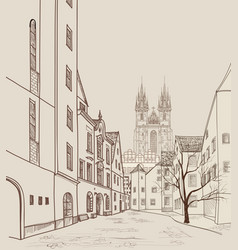 Prague city skyline building silhouette cityscape vector
