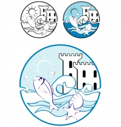 Sea park design elements vector