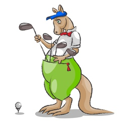 Kangaroo and golf vector