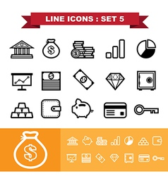 Line icons set 5 vector
