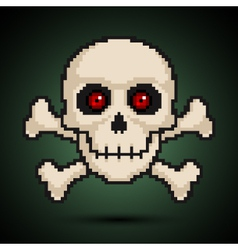 Pixel skull and crossbones vector