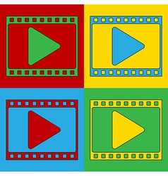 Pop art film strip icons vector