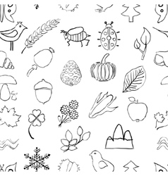 Doodle seamless nature pattern vector