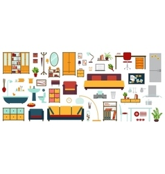 Furniture icons in flat style for house vector