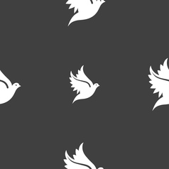 Dove icon sign seamless pattern on a gray vector