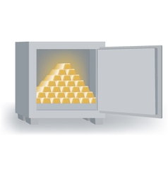 An open safe with a pyramid of gold bars vector
