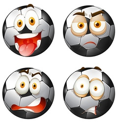 Footballs with facial expressions vector