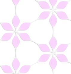 White colored paper floral pink six pedal flowers vector