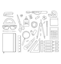 Stationery tools set contour vector