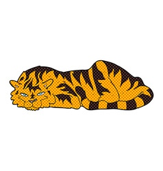 Comic cartoon resting tiger vector