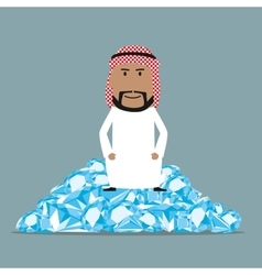 Rich arab businessman sitting on diamonds vector