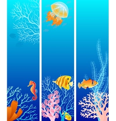 Vertical sea life banners vector image