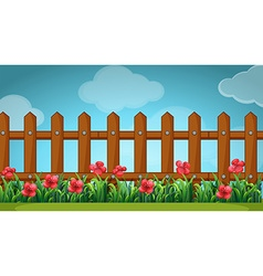 Scene with wooden fence in the garden vector