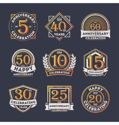 Anniversary celebration vintage isolated label set vector