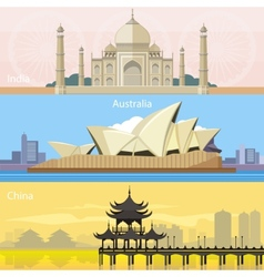 Australian china and india vector